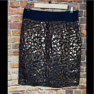The Limited Black & Gold Circle Pattern Skirt Sz 8